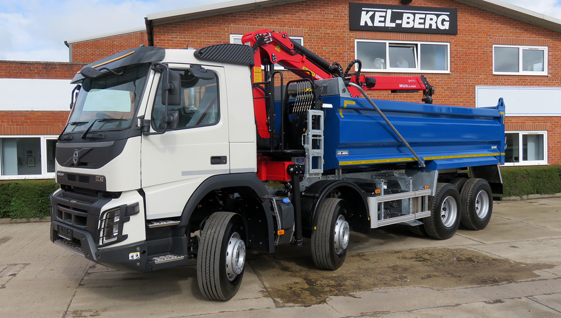 Volvo FMX 8x4 grab loader with a Kel-Berg body